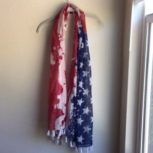 Patriotic Red White Blue Tassel 4th of July Scarf